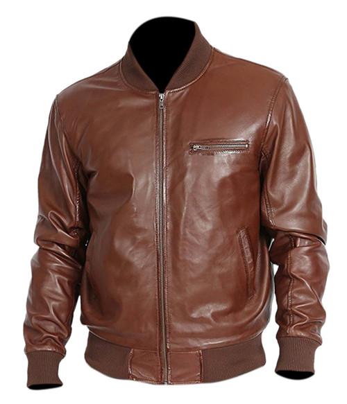 Genuine Leather Fashion Jacket Brown