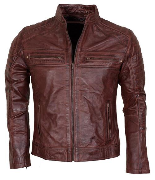 Cafe Racer Brown Waxed Vintage Look Biker Leather Jacket