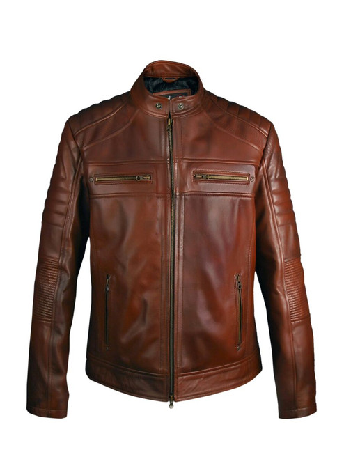 Cafe Racer Leather Jacket- Brown 1