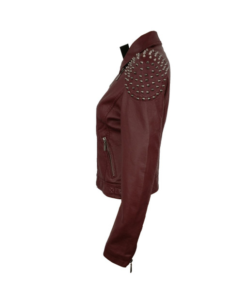 Womens Dark Brown Jacket with Metal Spike on Shoulders Perfect for Winter 1