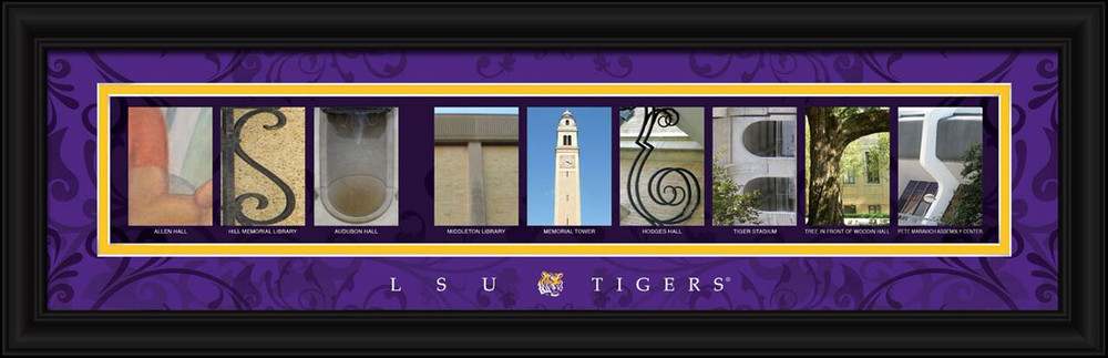 LSU Tigers Campus Letter Art | Get Letter Art | CLAL1B22LSUN
