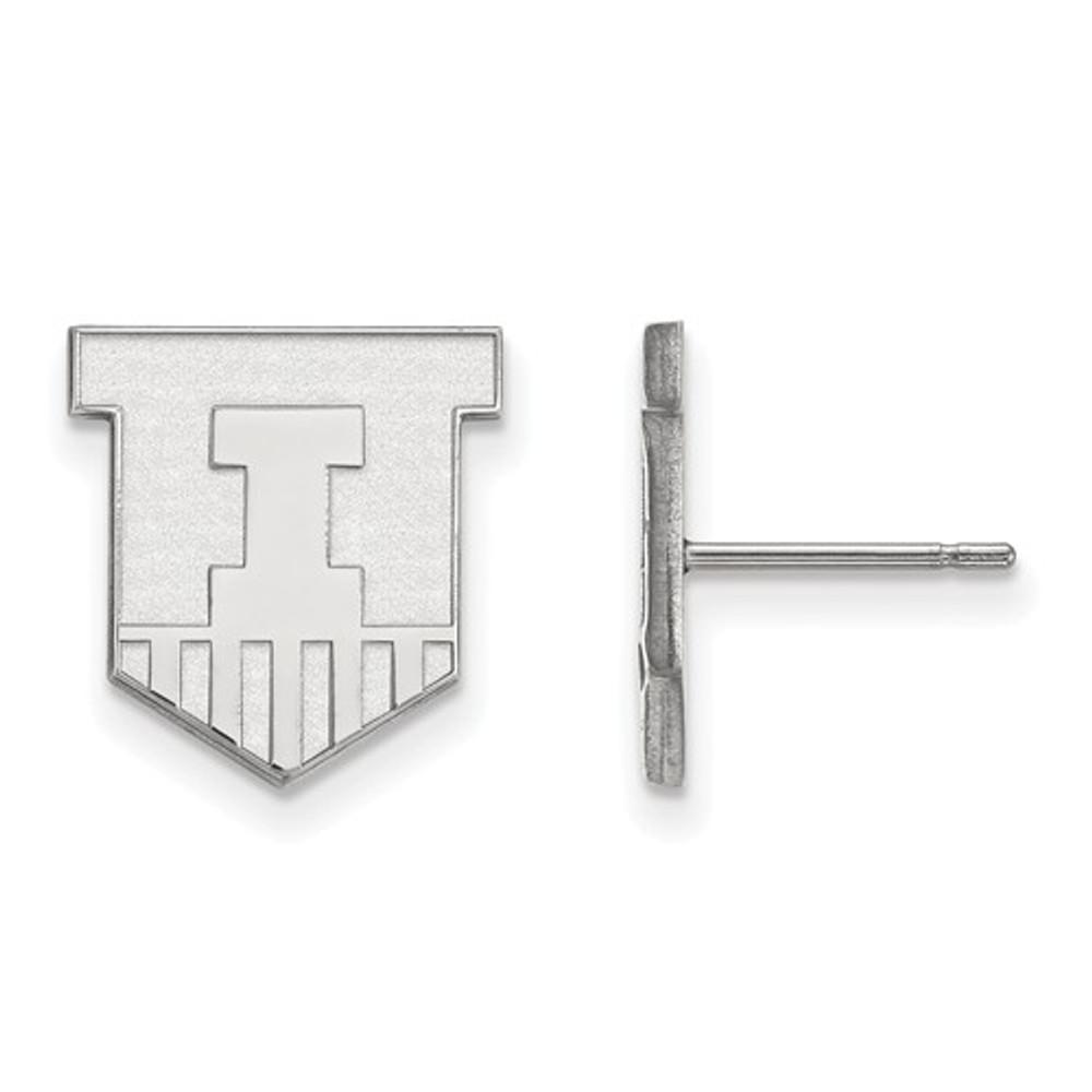 Illinois Fighting Illini Sheild Silver Post Earrings | Logo Art | SS050UIL