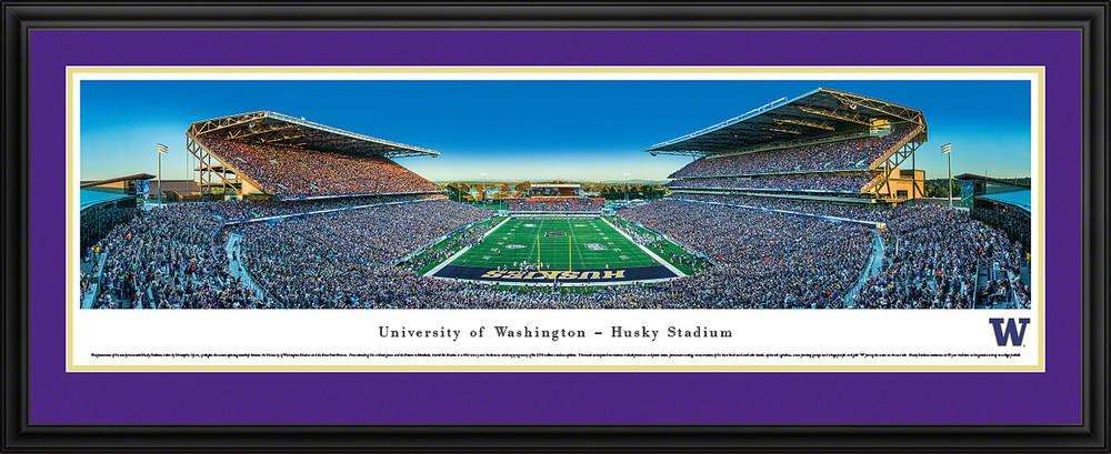 Washington Huskies Panoramic Photo Deluxe Matted Frame - End Zone   Blakeway   UWA4D