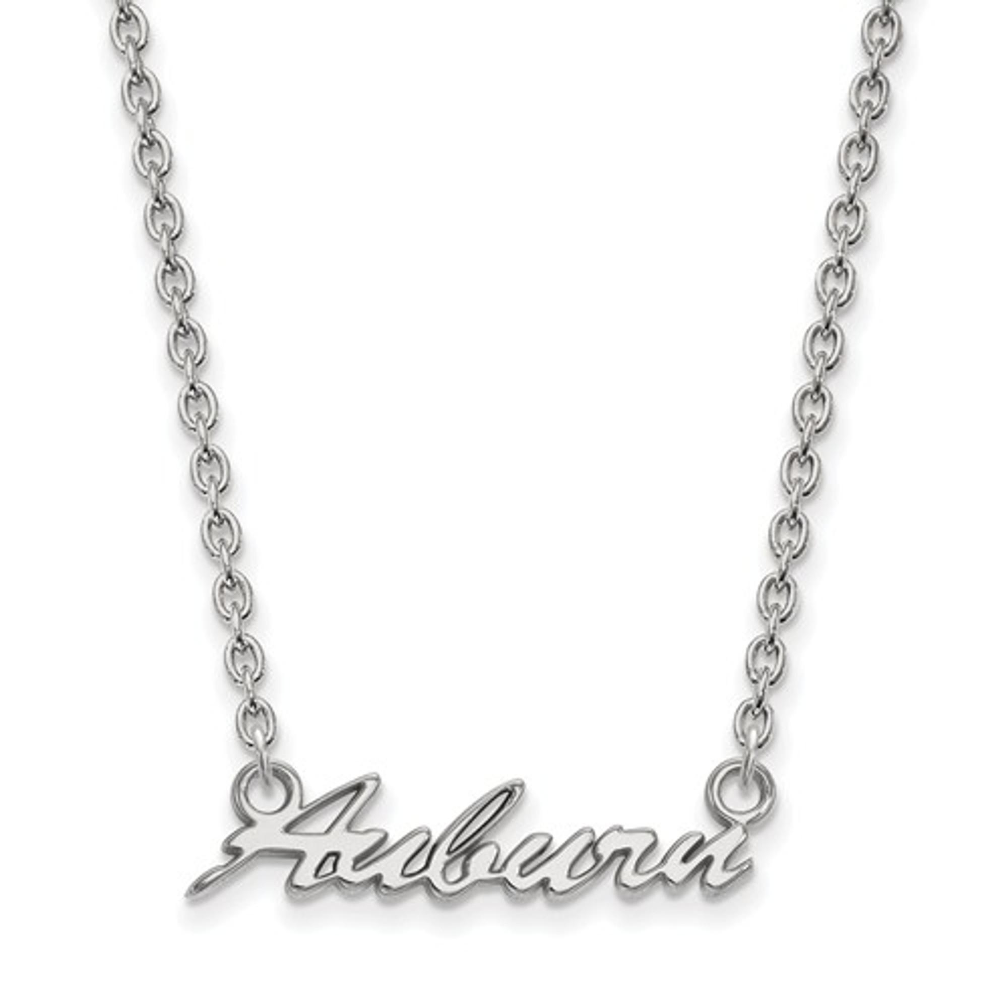 Auburn University Script Logo Sterling Silver Necklace