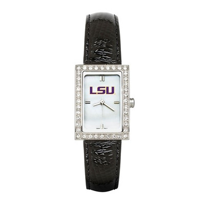 LSU Tigers Women's Allure Black Leather Strap Watch