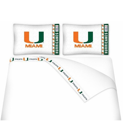 Miami Hurricanes Microfiber Sheet Set