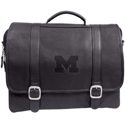 Michigan Wolverines Cross Body Leather Laptop Briefcase