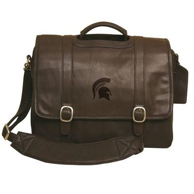 MSU Spartans Cross Body Leather Laptop Briefcase