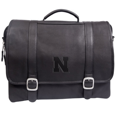 Nebraska Huskers Cross Body Leather Laptop Briefcase
