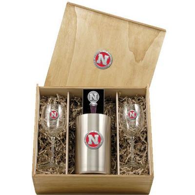 Nebraska Huskers Wine Box Set