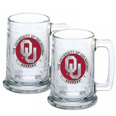 Oklahoma Sooners Beer Mug Set of Two