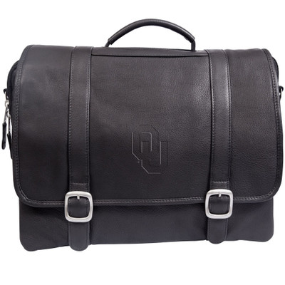 Oklahoma Sooners Cross Body Leather Laptop Briefcase