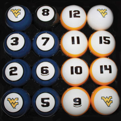 West Virginia Mountaineers Billiard Pool Ball Set