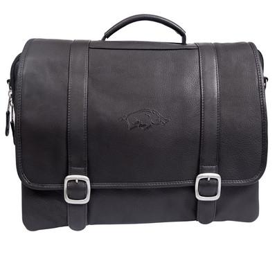 Arkansas Razorbacks Cross Body Leather Laptop Briefcase