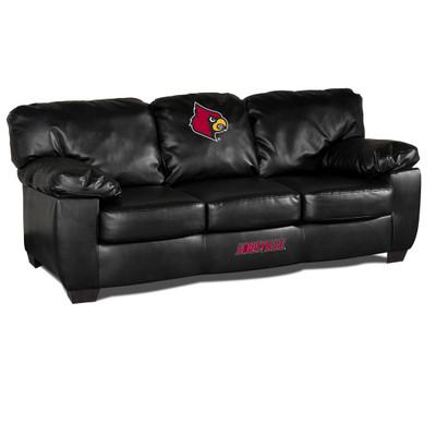 Louisville Cardinals Black Leather Classic Sofa
