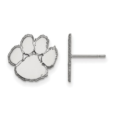 Clemson Tiger Paw Sterling Silver Post Earrings