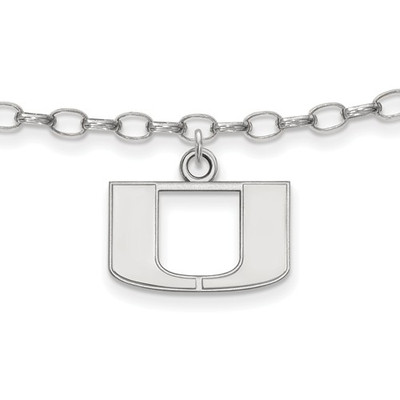 Miami U Hurricanes Sterling Silver Ankle Bracelet
