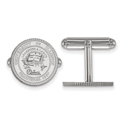 Illinois Fighting Illini Crest Sterling Silver Cufflinks