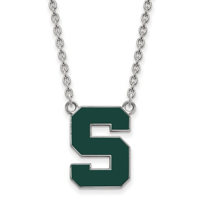 Michigan State Spartans S Logo Enamel Silver Necklace