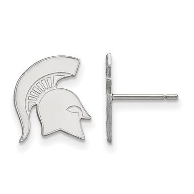 MSU Spartans Helmet Sterling Silver Post Earrings