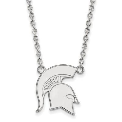 MSU Spartans Helmet Sterling Silver Pendant Necklace