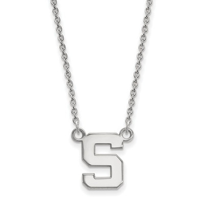 MSU Spartans S Logo Sterling Silver Pendant Necklace
