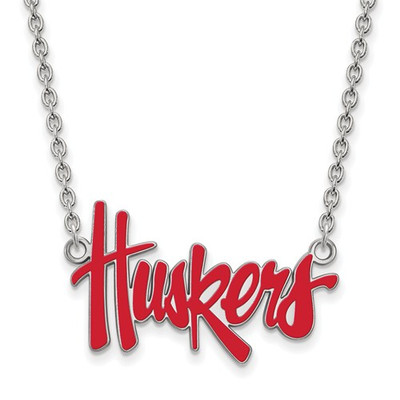 Nebraska Huskers Red Enamel Silver Necklace