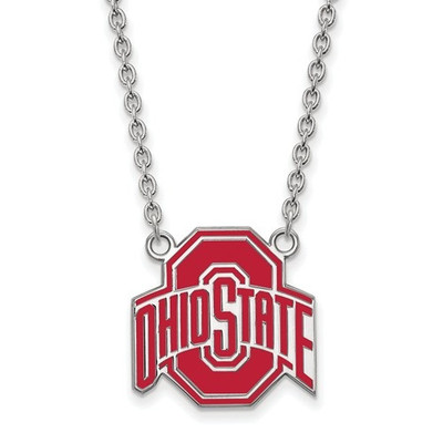 Ohio State Buckeyes Enamel Sterling Silver Necklace