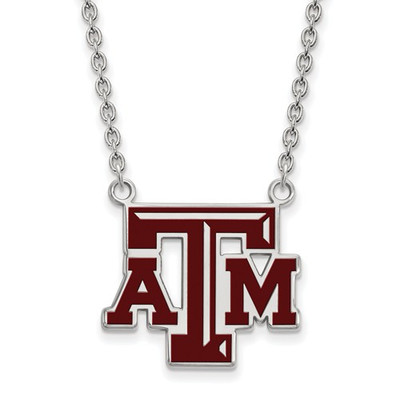 Texas A&M Aggies Enamel Silver Pendant Necklace