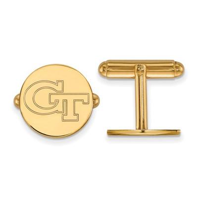 Georgia Tech GT Logo 14K Gold Yellow Jackets Cufflinks