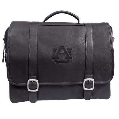 Auburn Tigers Cross Body Leather Laptop Briefcase