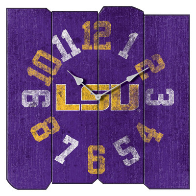 LSU Tigers Vintage Square Wall Clock