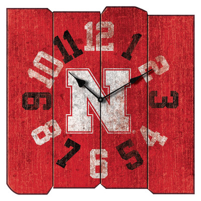 Nebraska Huskers Vintage Square Wall Clock