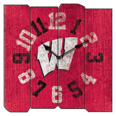 Wisconsin Badgers Vintage Square Wall Clock