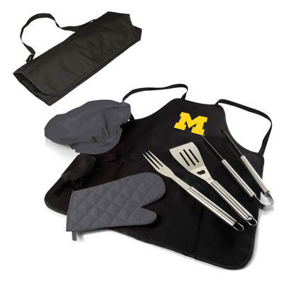 Michigan Wolverines BBQ Apron Tote Set