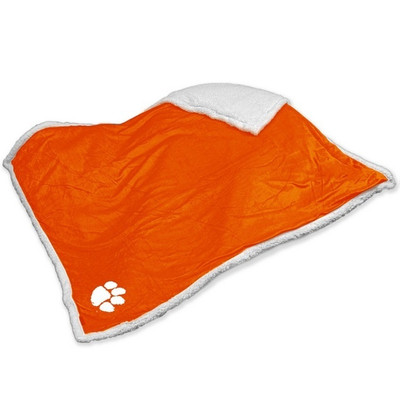 Clemson Tigers Embroidered Sherpa Throw Blanket