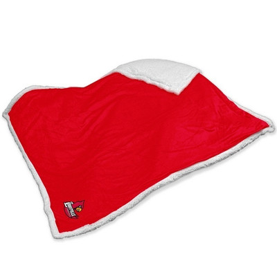 Louisville Cardinals Embroidered Sherpa Throw Blanket
