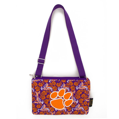 Clemson Tigers Quilted Cotton Crossbody Purse | Eagles Wings | 10115