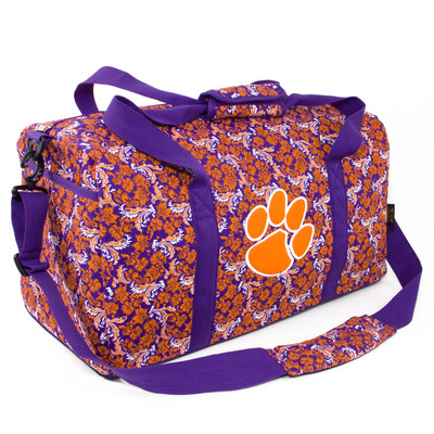 Clemson Tigers Quilted Cotton Large Duffel Bag
