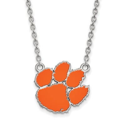 Clemson Tigers Paw Sterling Silver Enamel Pendant Necklace