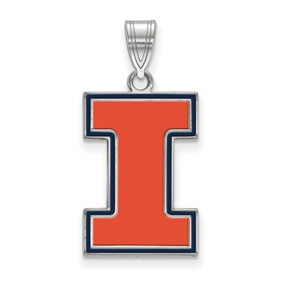 Illinois Fighting Illini I Sterling Silver Enamel Pendant