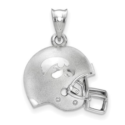 Iowa Hawkeyes Sterling Silver 3D Football Helmet Pendant