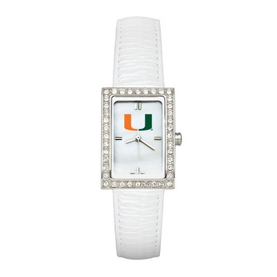 Miami Hurricanes Women's Allure White Leather Strap Watch