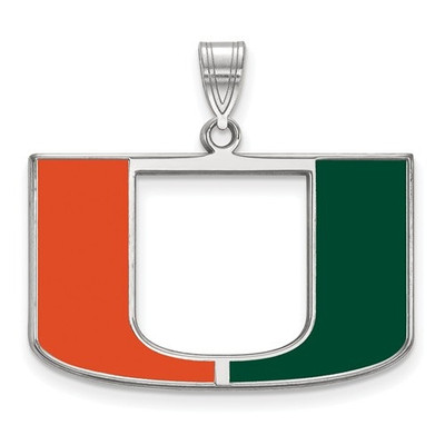 Miami Hurricanes Canes Sterling Silver Enamel Pendant