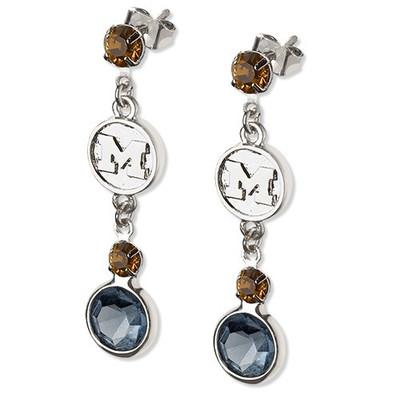 Michigan Wolverines Crystal Logo Earrings