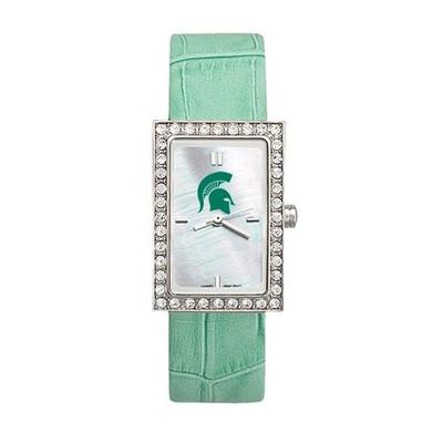 MSU Spartans Women's Allure Green Leather Strap Watch