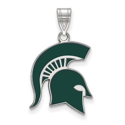 MSU Spartans Enamel and Silver Pendant