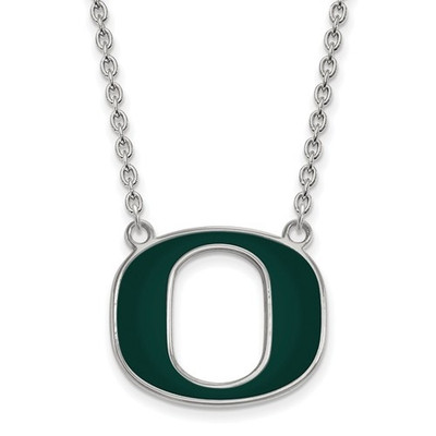 Oregon Ducks Sterling Silver Large Enamel Pendant Necklace