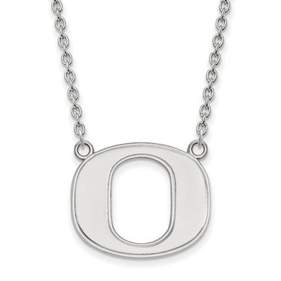 Oregon Ducks Logo Sterling Silver Pendant Necklace