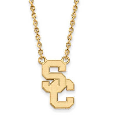 USC Trojans 14K Gold A Pendant Necklace